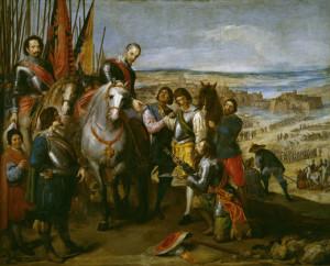La misma temática queda reflejada en la Rendición de Juliers (1634-35) sin embargo el trato hacia el enemigo es diferente. Los bandos no se encuentran a la misma altura lo que refleja la superioridad de los españoles, además el líder holandés es pintado en posición sumisa entregando sus armas, el poder queda en mano de los españoles. Fuente: Museo del Prado