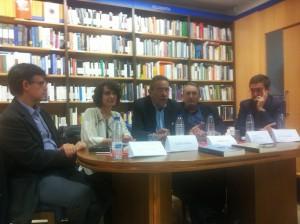 Un momento de la presentación de la HISTORIA DE LAS CULTURAS POLÍTICAS en Madrid (18 de diciembre de 2014). De izquierda a derecha: Pedro Rújula, María Sierra, Ismael Saz, Carlos Forcadell y Juan Pro